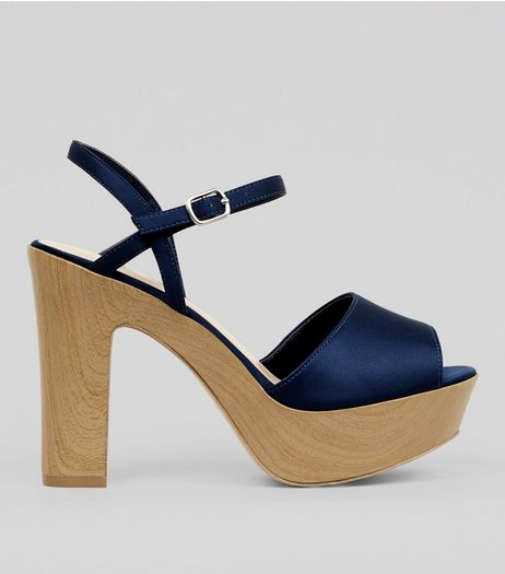 Wide Fit Navy Wooden Effect Platform Block Heels | New Look