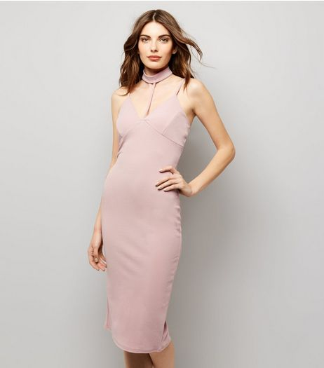 Pink Vanilla Pink Plunge Choker Neck Midi Dress | New Look