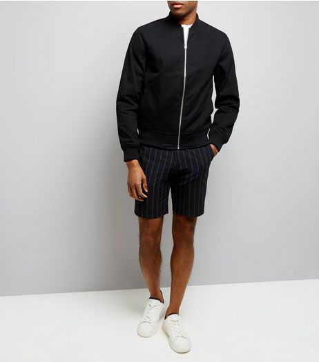 Black Pinstripe Seersucker Tailored Shorts | New Look