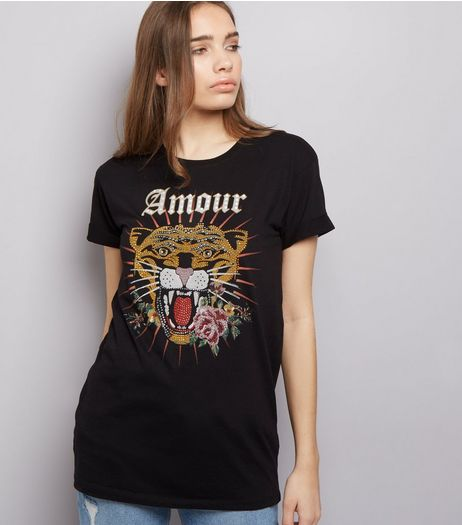 Black Amour Tiger Print Studded T-Shirt  | New Look