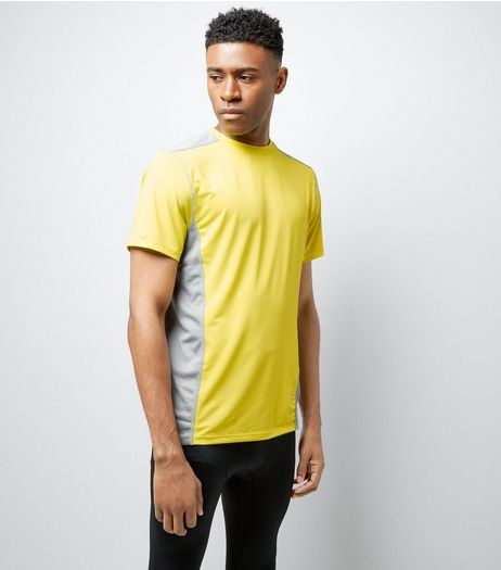 Yellow Panelled Short Sleeve Sports T-Shirt | New Look