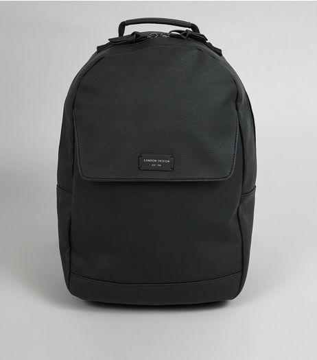 Black Flat Front Backpack  | New Look