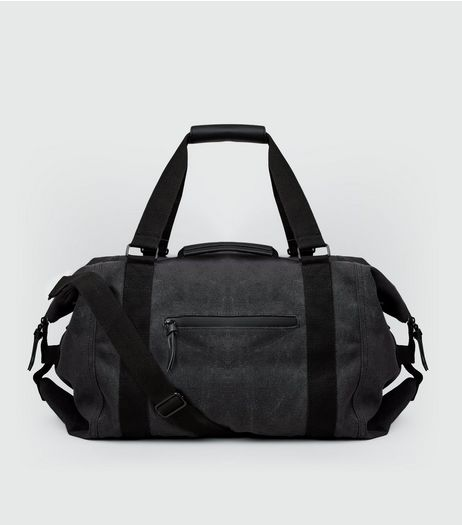 Grey Washed Canvas Holdall | New Look