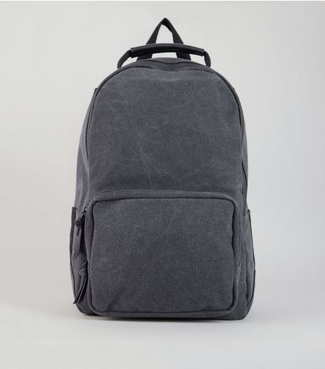 Black Washed Canvas Backpack | New Look