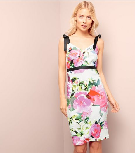 White Floral Print Ribbon Strap Bodycon Dress | New Look