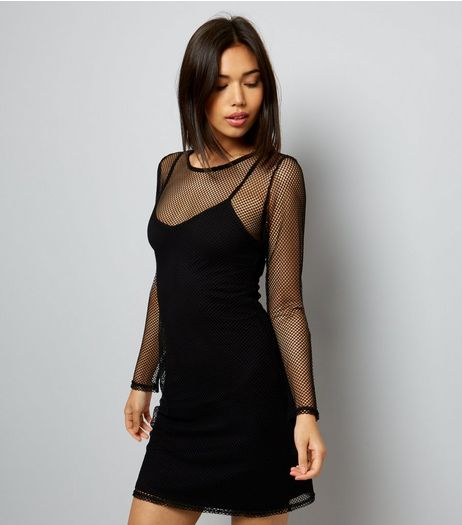 Black Fishnet 2 in 1 Bodycon Dress | New Look