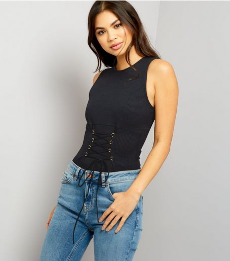 Black Lace Up Corset Bodysuit | New Look