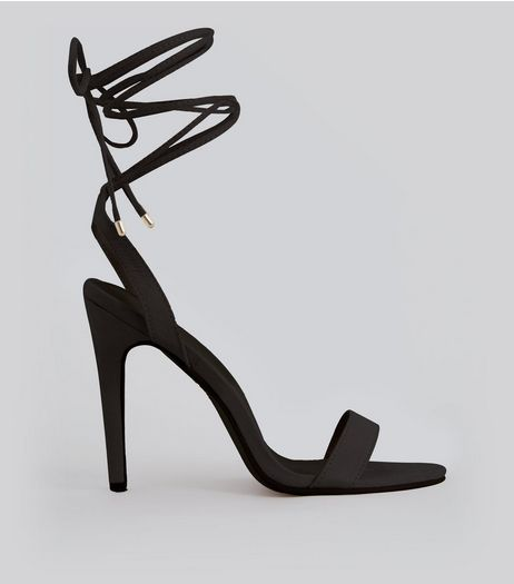 Black Suedette Ankle Lace Up Heels | New Look