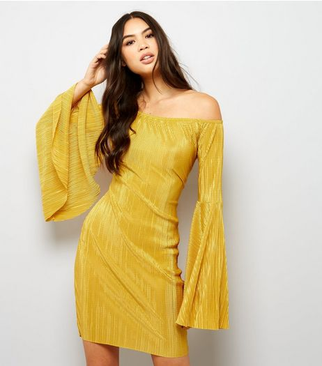 Yellow Pleated Flared Sleeve Bodycon Dress  | New Look