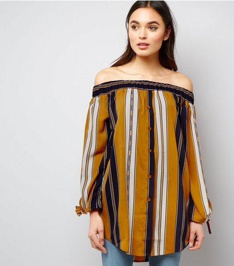 Cameo Rose Yellow Stripe Tie Sleeve Bardot Top | New Look