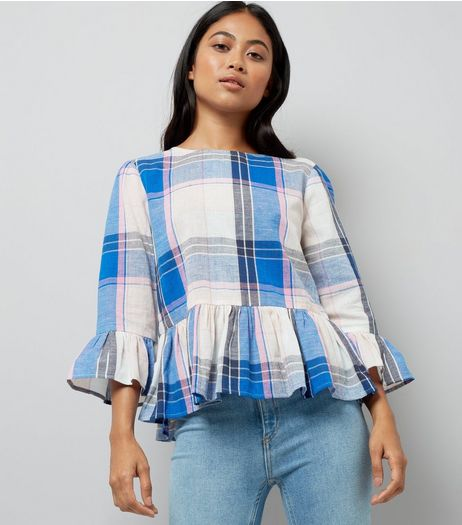Petite White Check Frill Hem Top | New Look