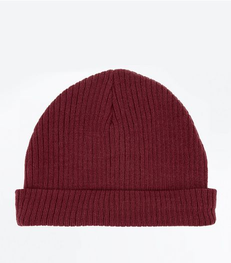 Burgundy Ribbed Beanie | New Look
