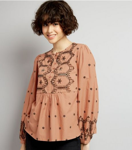 Light Brown Cut Out Long Sleeve Top | New Look