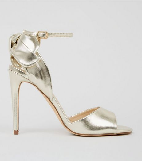 Gold Bow Heeled Sandals | New Look