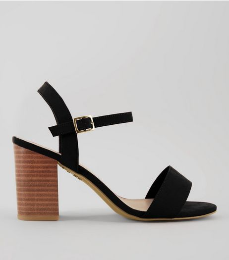 Wide Fit Black Wooden Block Sandals | New Look