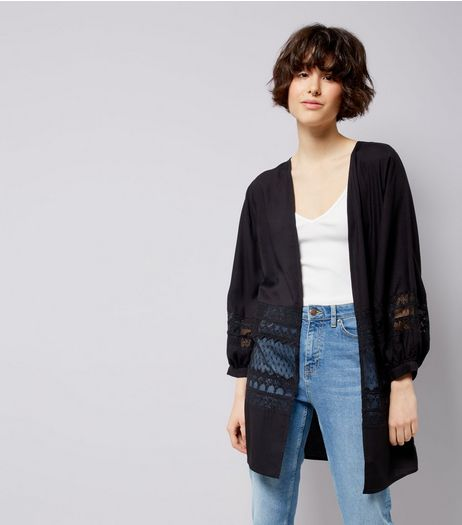 Black Lace Trim Mesh Panel Kimono | New Look