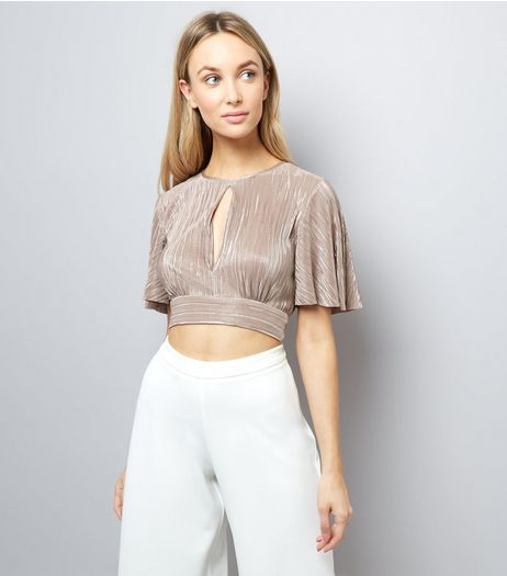 Mid Pink Metallic Pleated Crop Top | New Look