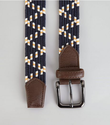 Navy Zig Zag Elasticated Belt | New Look