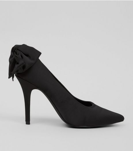 Black Satin Bow Back Pointed Court Shoes | New Look