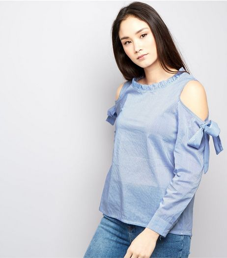 Cameo Rose Blue Tie Cold Shoulder Frill Trim Top | New Look