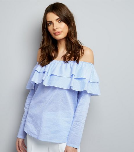 Cameo Rose Double Frill Trim Bardot Top | New Look