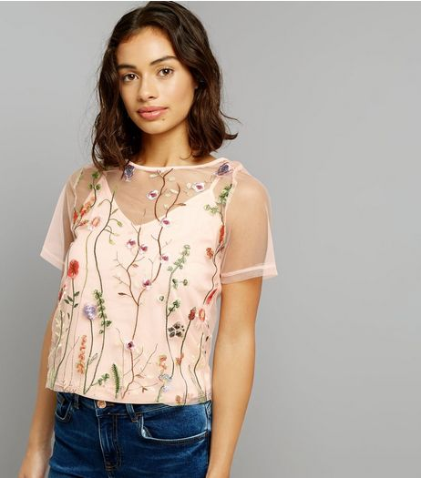 Petite Shell Pink Embroidered Mesh Top | New Look