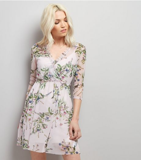 Petite Floral Print Mesh Wrap Front Dress | New Look