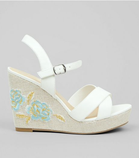 Wide Fit White Floral Embroidered Wedges  | New Look