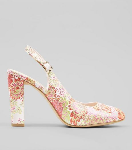 Wide Fit Pink Floral Brocade Sling Back Heels | New Look
