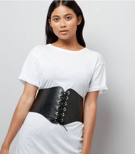 Black Eyelet Trim Lace Up Corset Belt | New Look