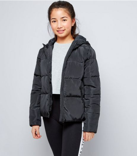 Teens Black Hooded Puffer Jacket | New Look