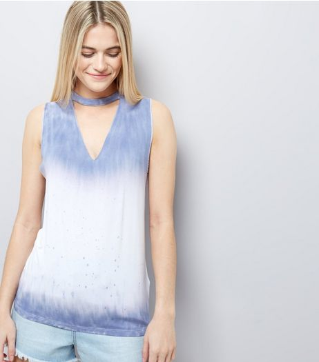 Blue Tie Dye Print Choker Neck Tank Top  | New Look