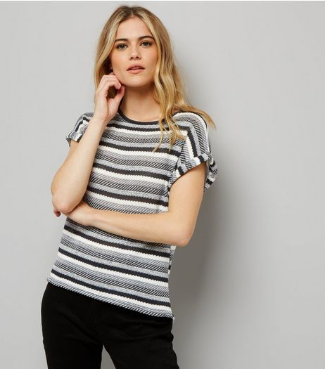 Apricot Black Stripe Rolled Sleeve Top  | New Look