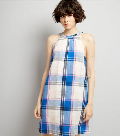 Blue Check Tie Back Shift Dress | New Look