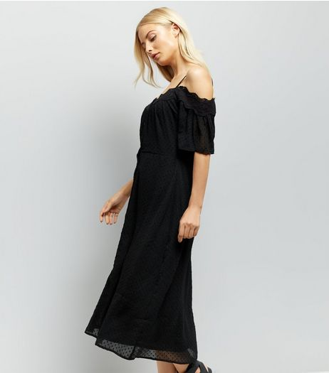 Black Cold Shoulder Midi Dress  | New Look