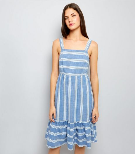 Blue Stripe Frill Hem Midi Dress | New Look