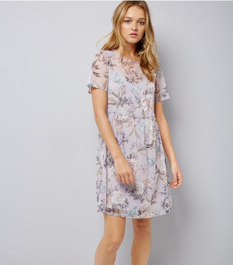 Purple Floral Print Mesh Smock Dress | New Look
