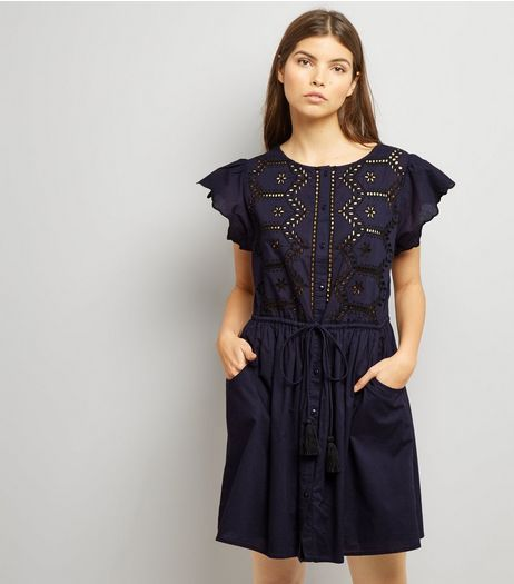 Navy Cut Out Short Sleeve Skater Dress | New Look