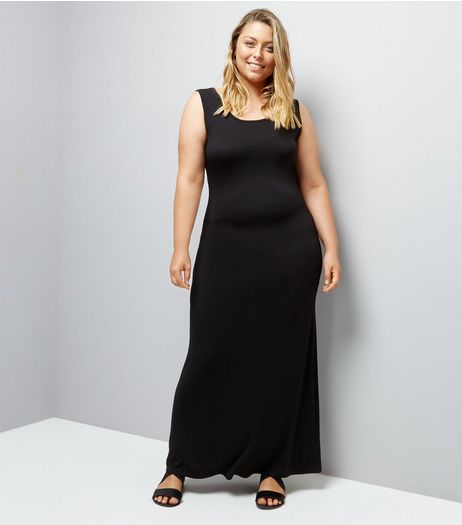 Curves Black Jersey Maxi Dress | New Look