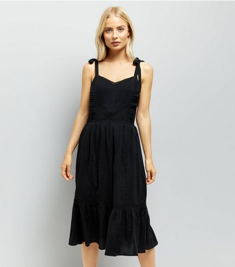 Black Tie Straps Tiered Sundress  | New Look