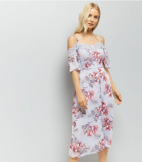 Lilac Floral Lace Trim Cold Shoulder Midi Dress | New Look
