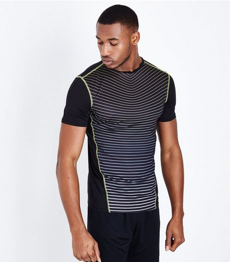 Black Stripe Panel Sports T-Shirt | New Look