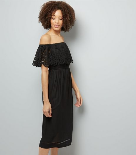Black Cut Out Detail Bardot Neck Midi Dress | New Look