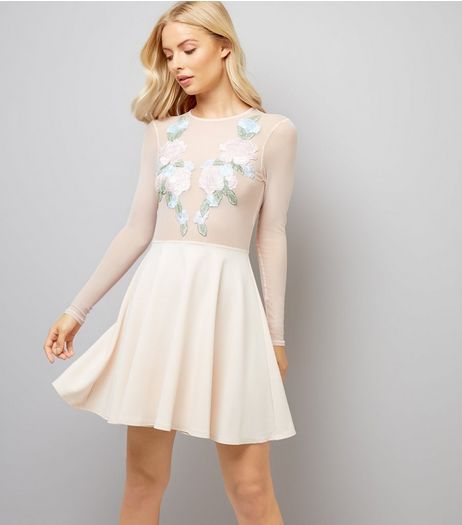 Pink Floral Embroidered Mesh Panel Skater Dress | New Look