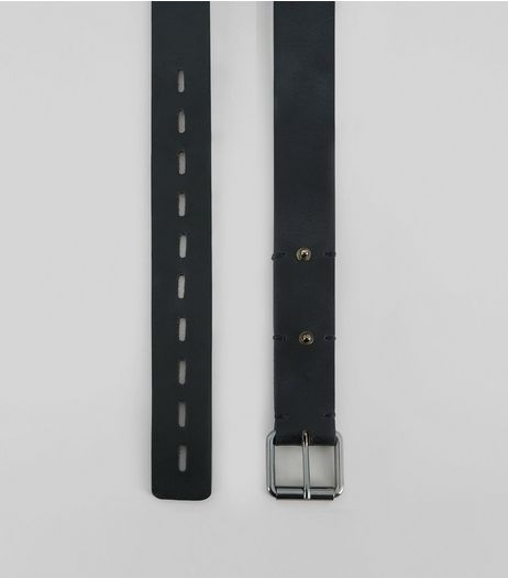 Black Leather Stud Stitch Detail Belt | New Look