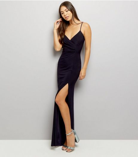 AX Paris Navy V Neck Split Front Maxi Dress  | New Look