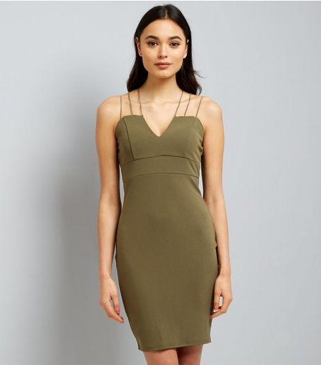 AX Paris Olive Green Strappy Dress  | New Look