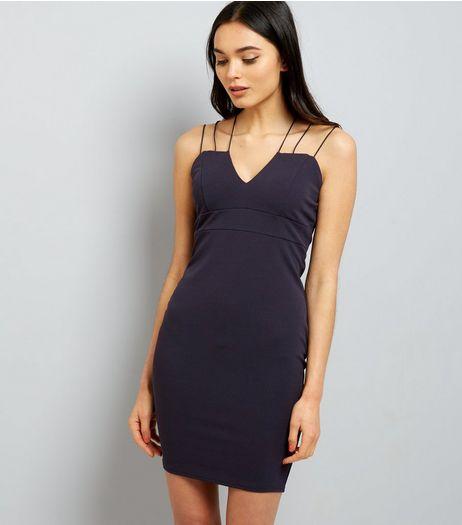 AX Paris Navy Strappy Dress  | New Look