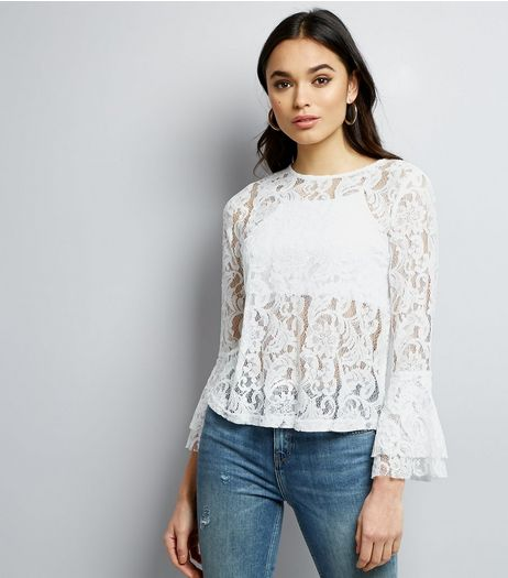 Cameo Rose White Lace Frill Sleeve Top | New Look