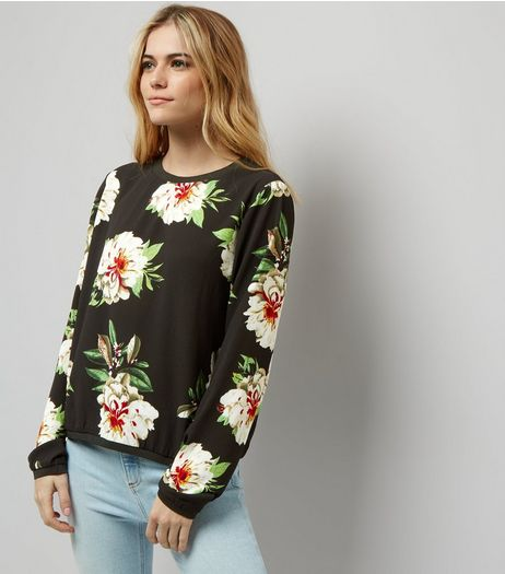Cameo Rose Black Floral Print Long Sleeve Sweater  | New Look